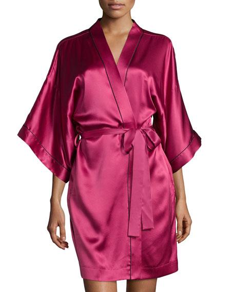 Neiman Marcus 3/4-Sleeve Short Robe, Claret