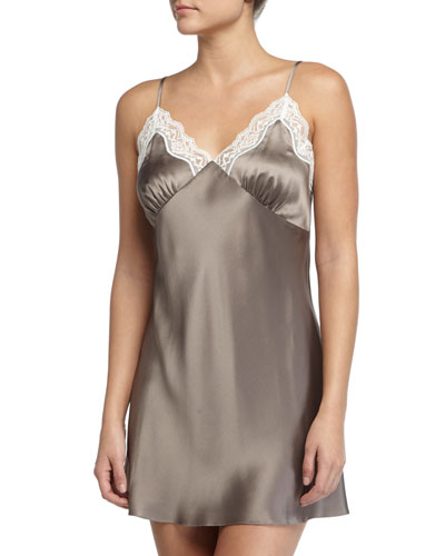 New Body Lace-Trimmed Chemise, Mink/Ivory