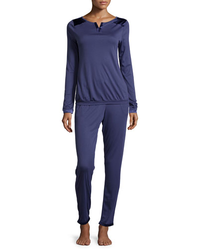 Garance Jersey Pajama Set, Royal Blue