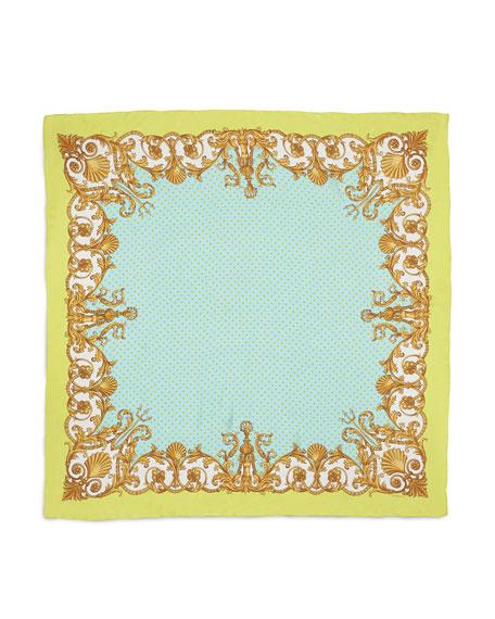 Polk-Dot & Scroll-Print Silk Scarf