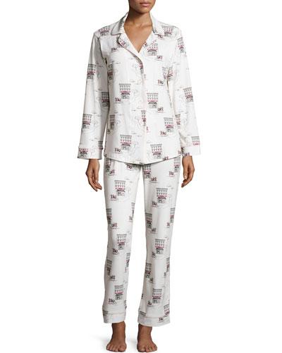 Girl On Scooter Printed Pajama Set