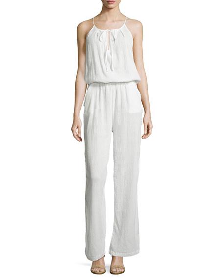 Skin Sleeveless Keyhole Gauze Jumpsuit, Crane White
