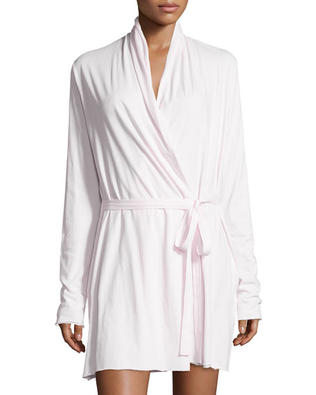Skin Double-Layer Jersey Wrap Robe, Powder