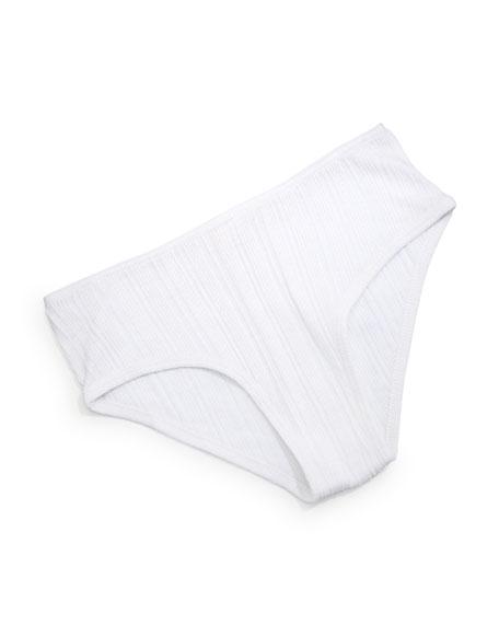 Skin City Striped-Cotton Boyshorts, White