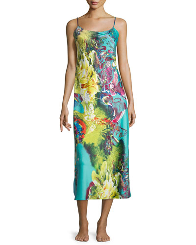 Awai Floral-Printed Long Gown, Multi