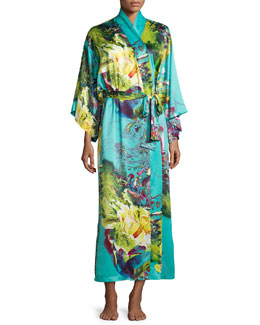 Awai Floral-Printed Long Robe, Multi