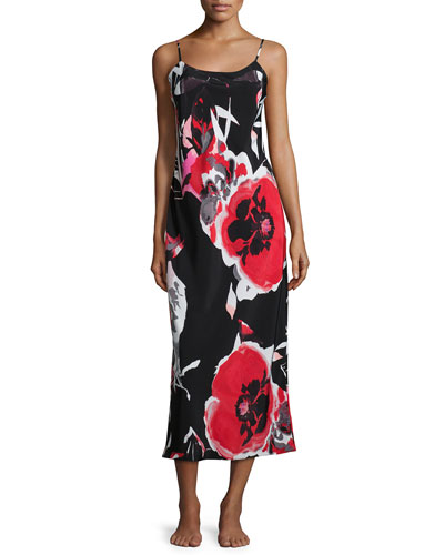 Lana Floral-Print Jersey Gown, Black Multi