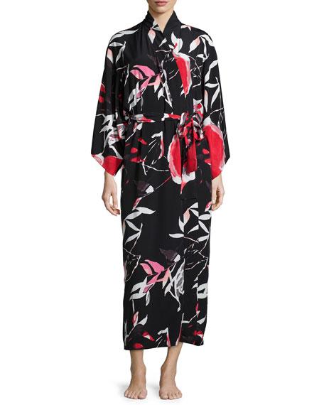 Natori Lana Floral-Print Long Wrap Robe, Black Multi