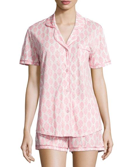 Cosabella Bella Brocade-Printed Shorty Pajama Set, White/Pink