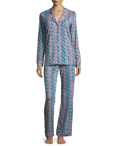 Bella Snake-Print Long Pajama Set, Blue/Pink