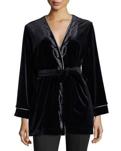 Embroidered Velvet Short Wrap Robe, Black