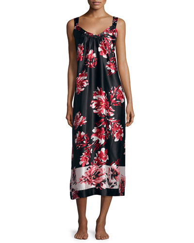 Floral-Print Satin Charmeuse Long Gown