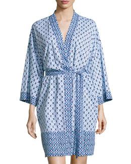 Printed Short Wrap Robe, Blue Tile