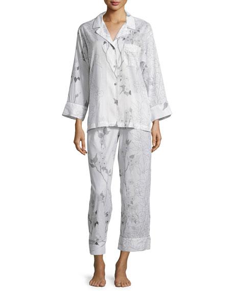 Natori Sakura Floral-Print Long-Sleeve Pajama Set, White