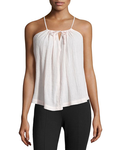Split-Neck Sleeveless Gauze Cami