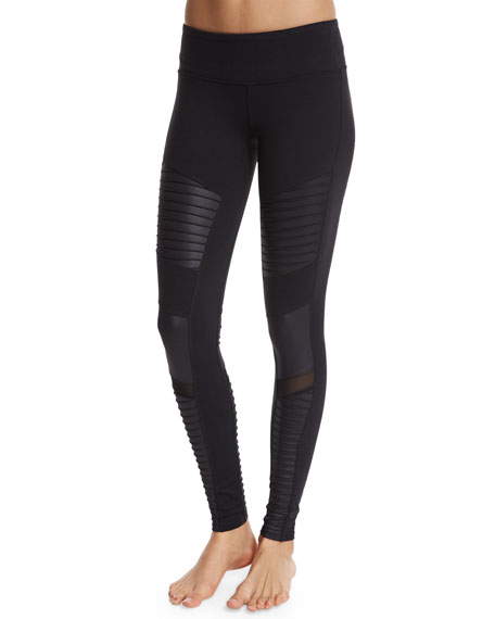 Alo Yoga Moto Full-Length Sport Leggings, Black