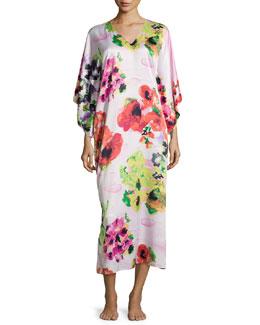 Waterspring Floral-Print Long Caftan, Pink Multi