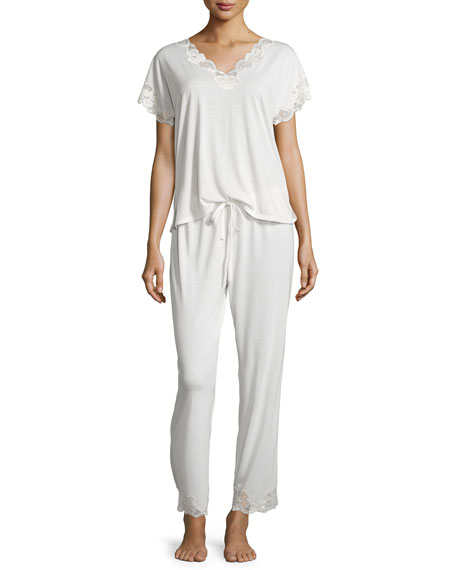 Natori Zen Short-Sleeve Pajama Set with Floral-Lace, Ivory