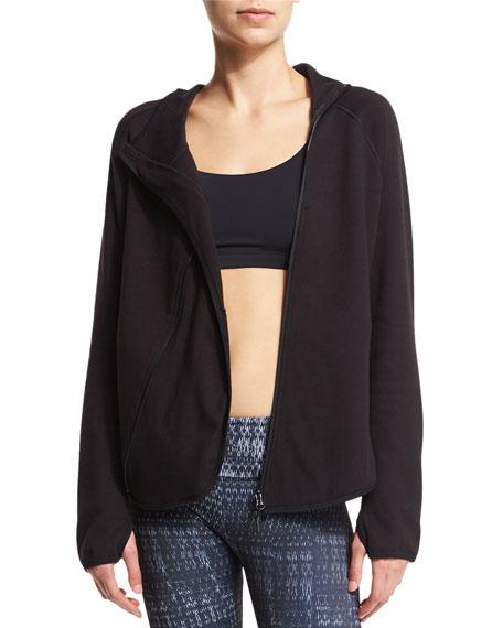 Onzie Dolman Asymmetric Zip-Front Sport Jacket, Black