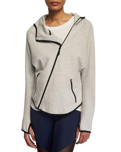 Dolman-Sleeve Asymmetric-Zip Sport Jacket, Heather Gray