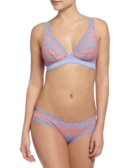 Italia Low-Rise Lace Thong, Purple Sky/Geranium Pink