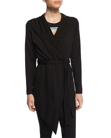 Live the ProcessLong-Sleeve Blanket Wrap Sweater, Black
