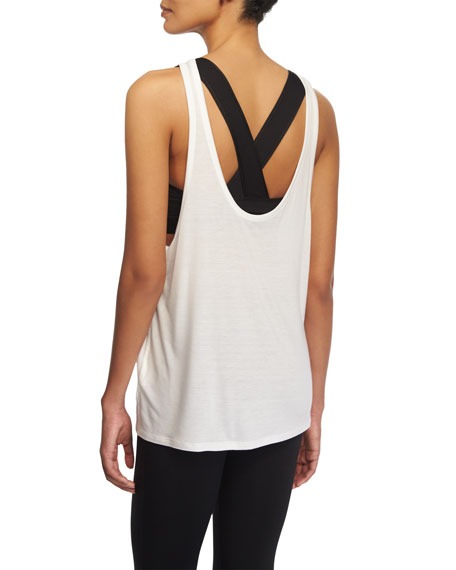Live the Process Linear Back-V Sport Tank W/Bra, White