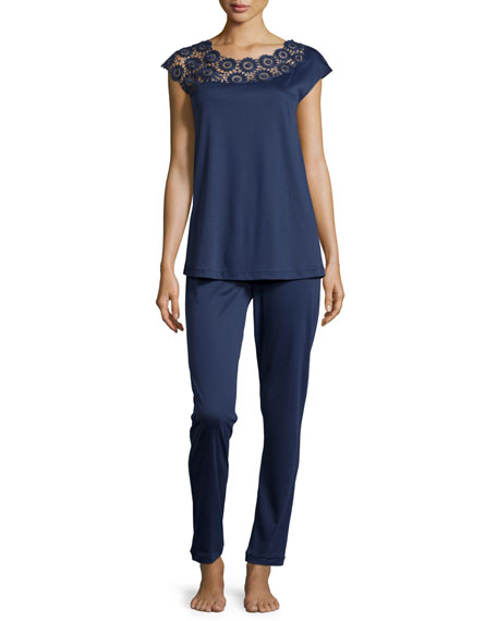 Eva Lace-Trim Two-Piece Pajama Set, Deep Sea