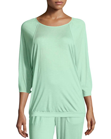 Hanro Susana 3/4-Sleeve Lounge Top, Jade