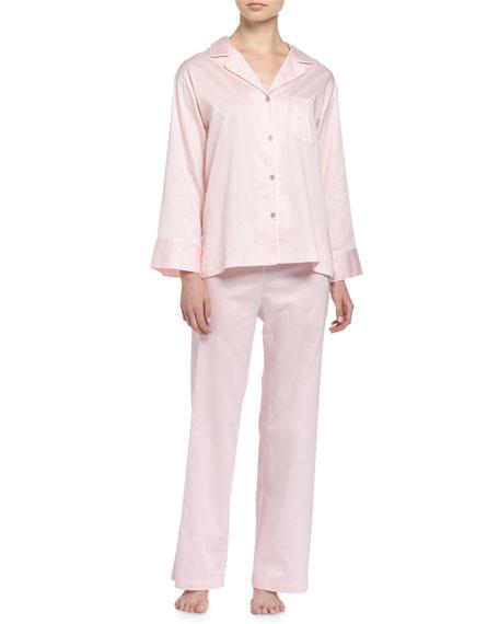 Natori Solid Sateen Two-Piece Pajama Set, Blush Pink