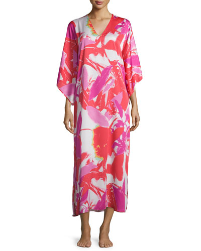 Lucent Palms-Print Lounge Caftan, Duchess Rose