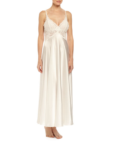 Caroline Lace-Trimmed Satin Gown, Ivory
