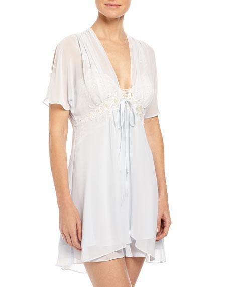 Jonquil Caroline Chiffon Short Robe, Blue Mist