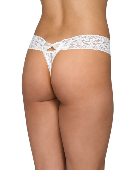 Hanky Panky Low-Rise Pearl Lace Thong, Light Ivory