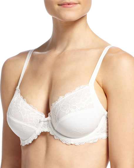 Chantelle Roselia 3-Part Lace Underwire Bra, Milk