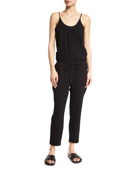 Skin Ginger Drawstring-Waist Cropped Jumpsuit, Black