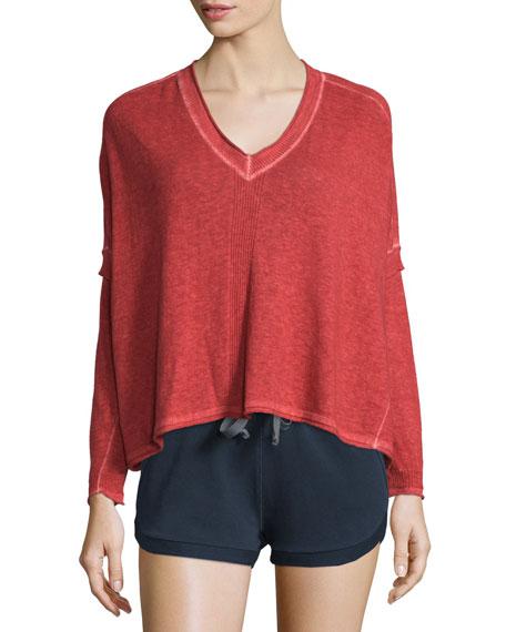 Skin Marisol Long-Sleeve V-Neck Sweater, Red