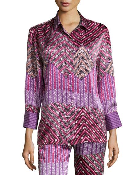 Diamond-Print Long-Sleeve Pajama Shirt