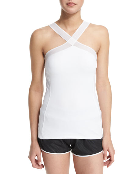Heroine Sport Drawstring Hooded Training Vest, Halter-Neck
