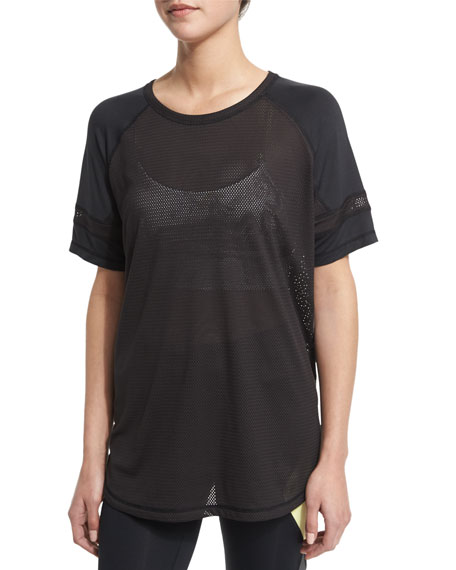 Alala All Day Mesh/Jersey Athletic Top, Black