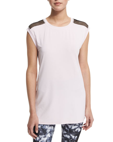Alala Mesh-Back Cap-Sleeve Sport Tee & Captain Ankle
