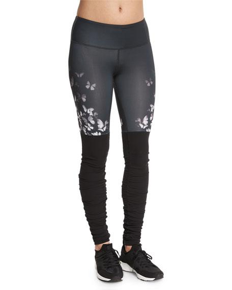 Alo Yoga Goddess Colorblock Ribbed Sport Leggings,