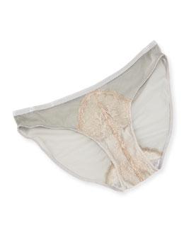 Chantilly Lace Bikini Briefs, Silver Nude
