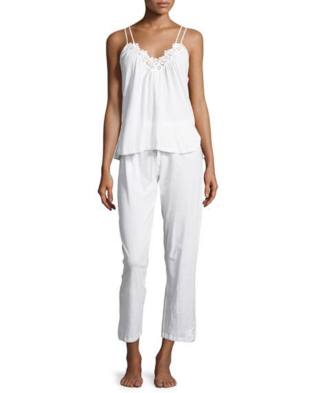 Oscar de la Renta Cotton Cluny Lace-Trim Pajama