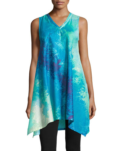 Floral Stream Printed Lounge Tunic, Blue Multi