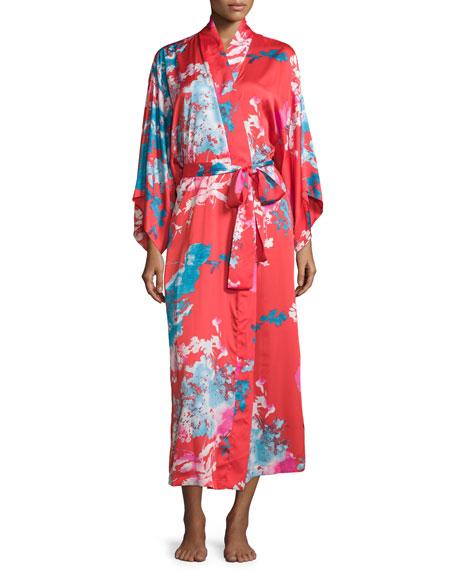 Natori Chianti Floral-Print Long Wrap Robe, Cinnabar
