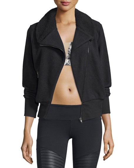 Alo Yoga Tempest Asymmetrical-Zip Fleece Sport Jacket