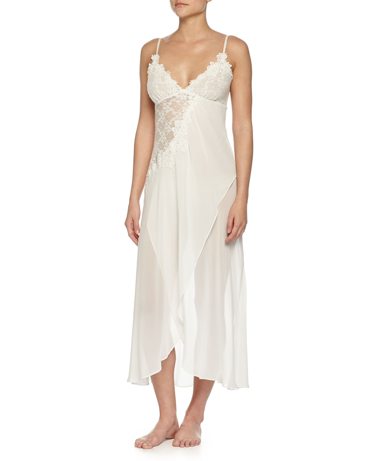 Jonquil Embroidered Mesh-Lace Long Gown, Ivory | Neiman Marcus
