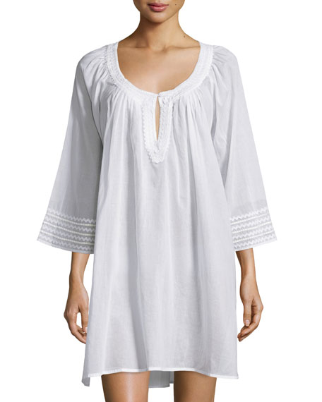 Oscar de la Renta 3/4-Sleeve Embroidered Sleepshirt