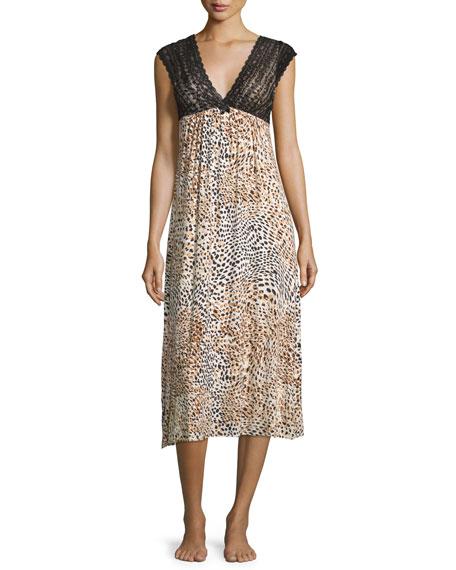 Oscar de la Renta Pink LabelSleeveless Lace-Bodice Nightgown